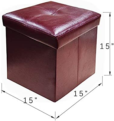 Strange Yifontin Storage Ottoman Cube Chest Collapsible Footstool Basket Picnic Corner Seat Versatile Space Saving Foldable Box 15X15X15 Faux Leather Brown Short Links Chair Design For Home Short Linksinfo