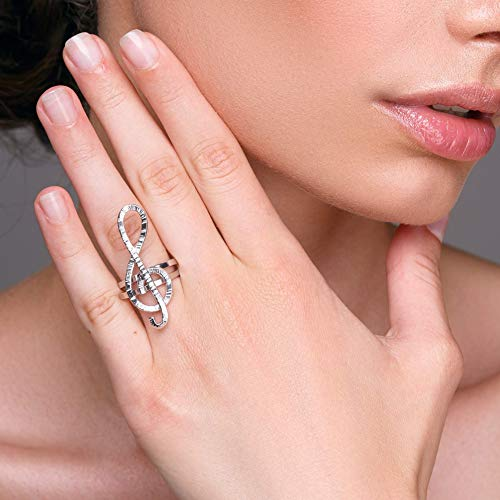 Sterling silver treble clef ring by Emmanuela