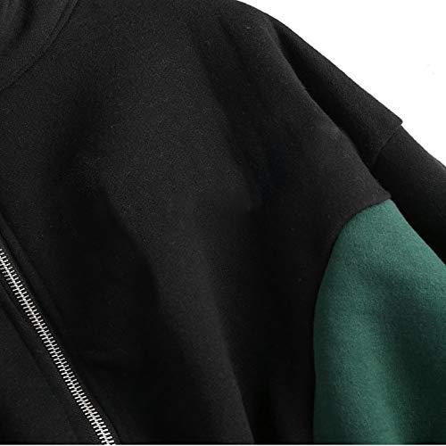 Nero Cappuccio VICGREY Coste Donna Zip A con Felpe con Pullover Patchwork Donne Maglione Autunno Cappotto Felpa Felpa Invernale Manica Donna Lunga Velluto Casual r0qBrpw