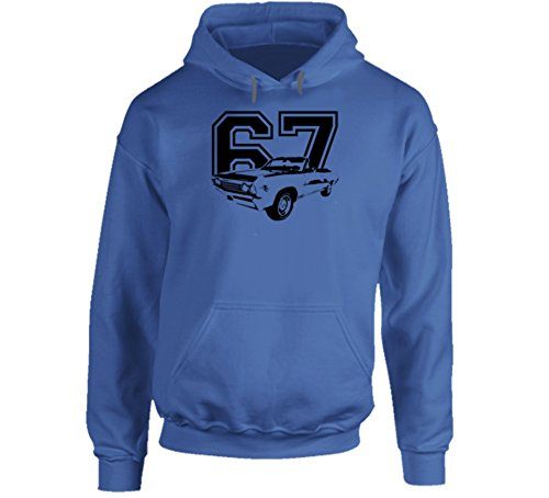 CarGeekTees.com 1967 Chevelle Three Quarter Side View with Year Soft Heavy Duty Royal Blue Hoodie XL Royal Blue