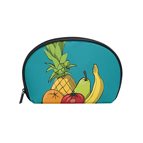 (Perfectly Customized Toiletry Bag Cartoon Bowl of Fruit Womens Beauty Makeup Case Brush Cosmetic Organizer)