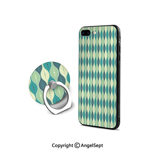 Protective Case Compatible iPhone 7/8 with 360°Degree Swivel Ring,Oval Curved Vertical Lines with Classic Effects Dots Retro Graphic Decorative,for Girls,Sea Green Petrol Blue
