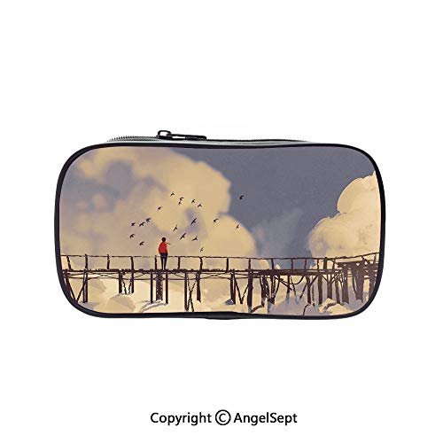 Big Capacity Pencil Case 1L Storage,Man Standing on Unsafe Bridge Looking at Clouds Outdoor Depression Loneliness Art Print Decorative Multicolor 5.1inches,Desk Pen Pencil Marker Stationery Organizer