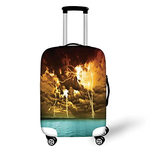 Price comparison product image Travel Luggage Cover Suitcase Protector, Nature, Flash Storm over the Lake with Large Rain Clouds Miracle Solar Illumination Photo, Blue Yellowfor Travel