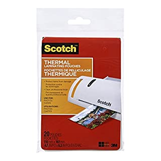 Scotch Thermal Laminating Pouches, 4.3-Inch x 6.3-Inch (Per Pouch) , 5-Mil thick, 20 Pouches, (TP5900-20-C) (B00ENFRBW8) | Amazon price tracker / tracking, Amazon price history charts, Amazon price watches, Amazon price drop alerts