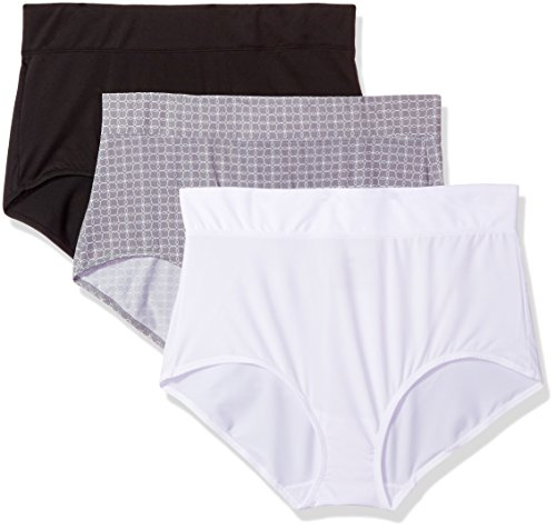 Warner's Women's Blissful Benefits No Muffin Top 3 Pack Brief Panty, Black/White/Octagon Print, XL -