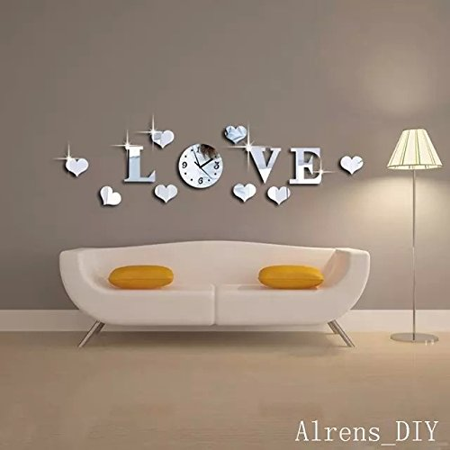 Alrens_DIY(TM)Silver Creative Love Heart Boutique Store Art Mordern Luxury Design DIY Acrylic Non-ticking Quiet Quartz Wall Clock Watch Removable 3D Crystal Mirror Wall Clock Wall Sticker Home Decor Art Living Room Bedroom Office Decoration by Alrens (Image #1)