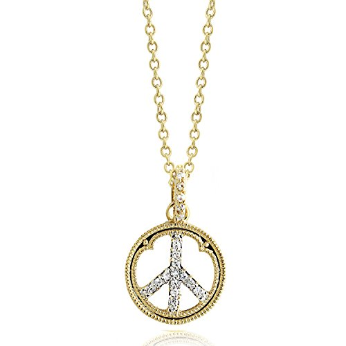 Gold Peace Sign Necklace - 8