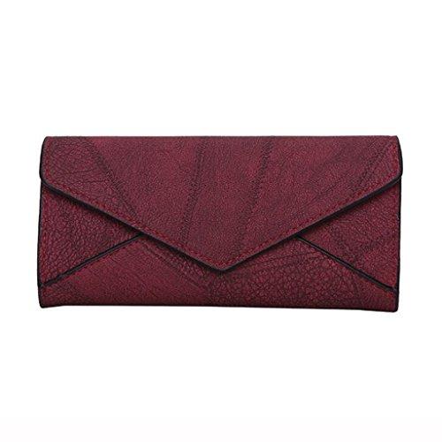 en Générique 9cm Sac de Taille de 20 Pochette Brown d'enveloppe Portefeuille Volets Femmes Cuir Couleur Couture Trois Mode Rouge Mat d'embrayage Femme 3 Vin Portefeuille xRPFwqrYR