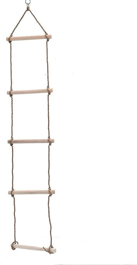 WJQ Escalera de Cuerda de Madera para niños - 5 Varillas de Madera Superficie Lisa y una Fuerza de fricción de hasta 2 Metros - Ideal para Escalar Casas en los árboles: Amazon.es: Hogar