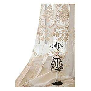 Aside Bside High Grade European Embroidery Sheer Curtain Rod Pockets Top Window Treatment Voile Panel Drape for Living Room Bedroom Kichen and Dining Room(1 Panel, W 50 x L 63 inch, Gold)