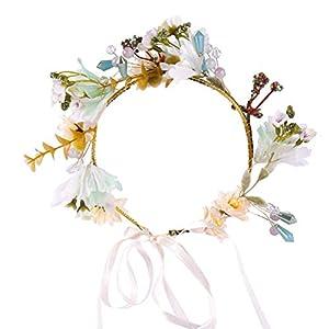 LURROSE Artificial Flower Crown Bride Floral Headband Wedding Garland Head Wreath Wedding Dress Headwear Wedding Headpiece for Seaside Travel 88