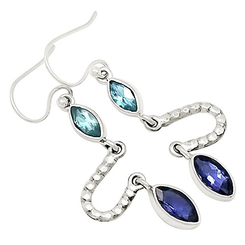 - Xtremegems Iolite & Blue Topaz 925 Sterling Silver Earrings Jewelry 1 3/4