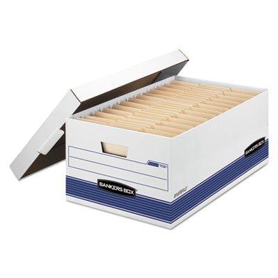 FELLOWES MANUFACTURING Stor/File Storage Box, Legal, Locking Lid, White/Blue, 12/Carton (702)