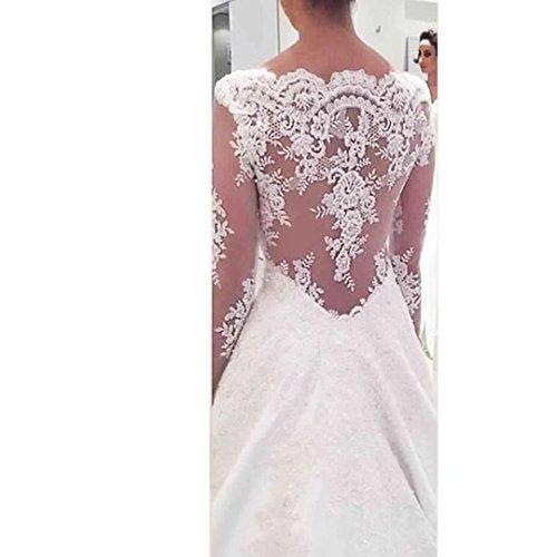 Diigi Une Robes Ligne Manches Longues Robes De Mariée En Satin Col V Illusion Dentelle Dos Appliqué Mariée Ivoire
