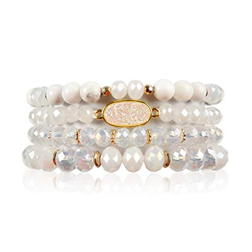 RIAH FASHION Bead Multi Layer Versatile Statement Bracelets - Stackable Beaded Strand Stretch Bangles Sparkly Crystal, Faux Druzy, Pave Fireball (Oval Acrylic Druzy - White)