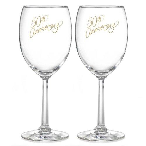 Hortense B. Hewitt Wedding Accessories 50th Anniversary Wine Glasses, Set of (50th Anniversary Flutes)