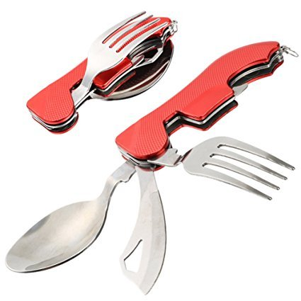 My Utensil Set | 3 in 1 Portable Folding Knife Fork Spoon Set | Compact Pocket Spoon and Knife with Detachable Fork for Travel Camping | Durable Food Grade Stainless Steel Dining Kit