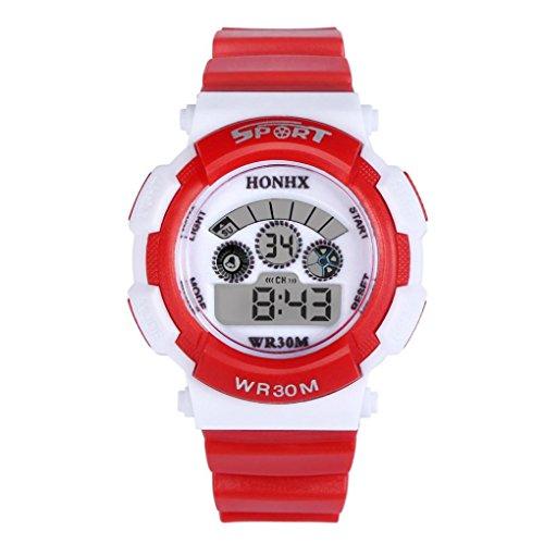 Sports Boy Digital LED Quartz Alarm Date Wrist Watch Waterproof Red - 6