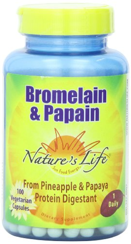 Nature's Life Bromelain & Papain Veg Capsules, 250/250 Mg, 100 Count