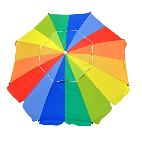 Shadezilla 8ft Premium Heavy Duty Fiberglass Beach Umbrella UPF 100+