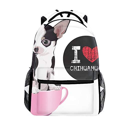 I Love Chihuahua Bookbags for Women, Cute Casual Backpack College Bags Men Daypack Travel Bag ()