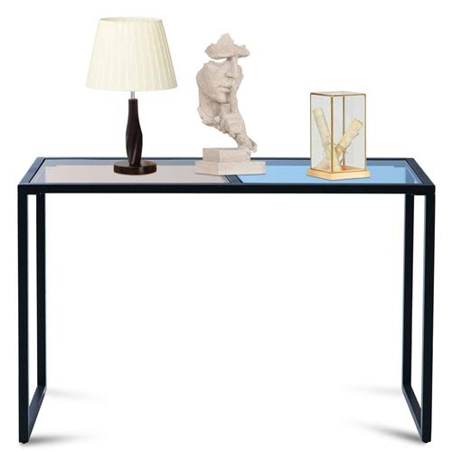 LordBee Lightweight Iron Frame Console Sofa Table with Blue and Tan Tempered Glass Top Ample Large Stable Long Lasting Home Furniture