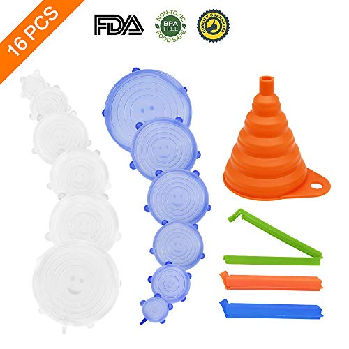 (16 Pcs Silicone Stretch Lids Stayfresh Reusable Silicone Lids Food And Bowl Covers With 12 Expandable Silicone Covers+1 Folding Funnel+3 Sealing Clips For Various Sizes And Shapes Of Containers)