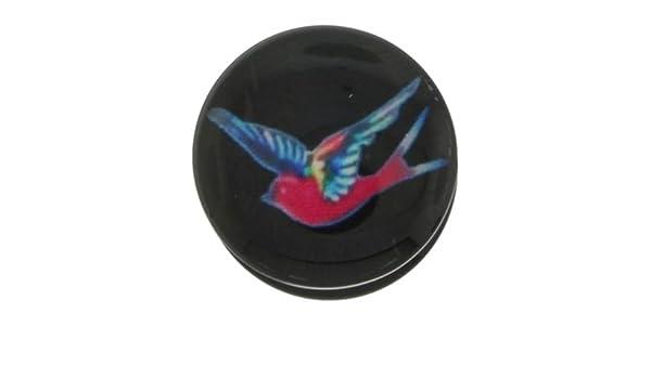 14 mm - 1,43 cm - negro Swallow tatuajes de pájaro Emo roscada Auriculares de enchufe túnel carne - acrílico: Amazon.es: Joyería