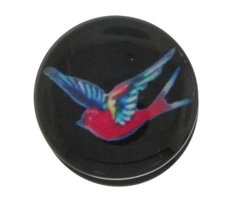 16 mm - 1,59 cm - negro Swallow tatuajes de pájaro Emo roscada Auriculares de enchufe túnel carne - acrílico: Amazon.es: Joyería