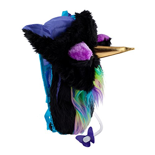 Dan-Pak Hydration Pack 2l -Dark Mystical Unicorn - Furry Black Plush Hood!