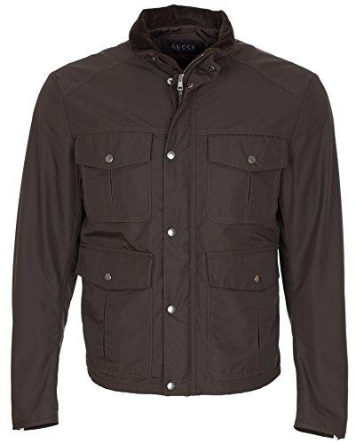 Gucci Men's Brown Velvet Collar Biker Jacket, Brown, M
