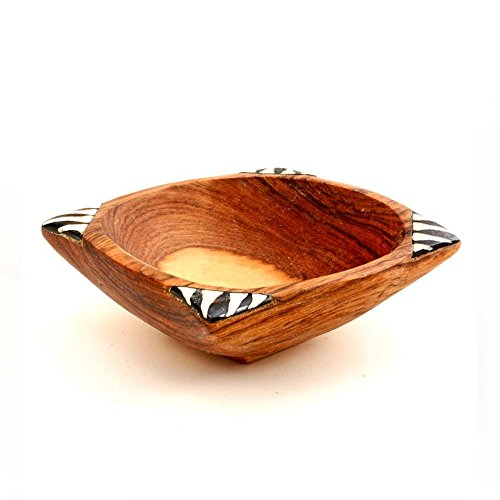 African Olive Wood Dish With Bone Inlay