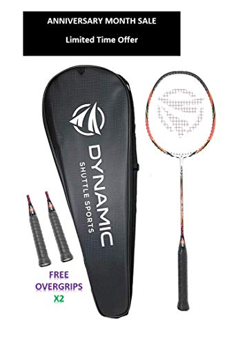 Dynamic Shuttle Sports Ares Red 68 Premium Carbon Fiber Indoor/Outdoor Professional Badminton Racket with Cover - for Both Offensive and Defensive Players, Good for All Levels...