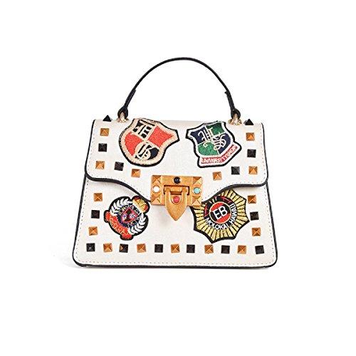 pour élégant à mode tout la les petit sac White à à mode bandoulière la femmes cloutée Broderie sac fourre sac IAfFq