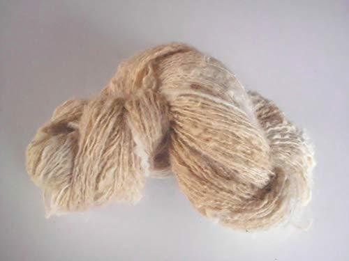 Handspun Cream Pale Tan Alpaca Silk Thick and Thin Bumpy Art Yarn