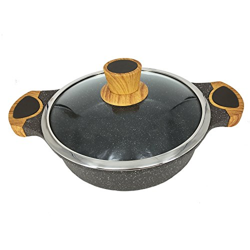 Garwarm Hard-Anodized Nonstick Stockpot/Sauce pans/Frying Pan/Cooker With Tempered Glass Lid,Granite Aluminum Coating,used on all types of stoves,3 Quart