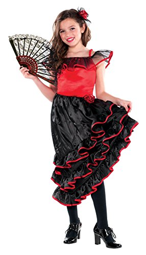 amscan Girls Spanish Dancer Costume - Large (12-14), Red/Black ()