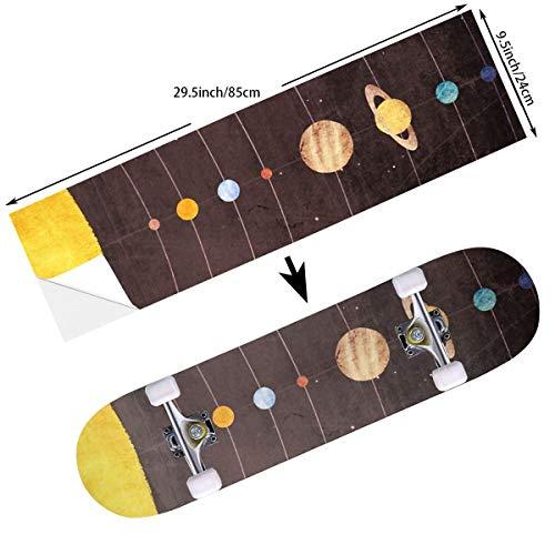 Solar Skateboard Deck - STREET FFX Fashion Funny Skateboard Cruiser Deck and Balance Board Stickers Decals Grip Tape - 9.5 x 33.5 Inches - Solar System