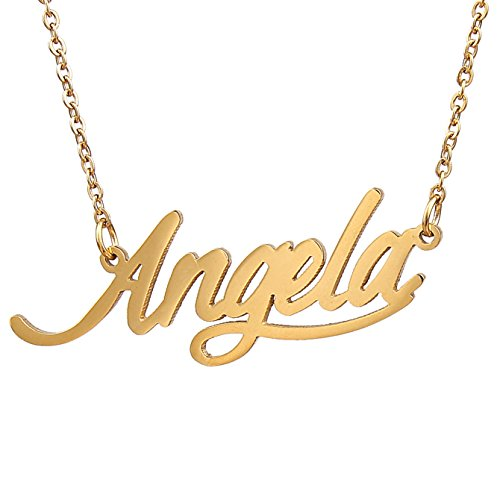 Huan Xun Gold Plated Womens Name Necklace  Angela