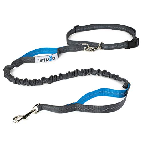 Tuff Mutt - Hands Free Dog Leash for Running, Walking, Hiking, Durable Dual-Handle Bungee Leash, Reflective Stitching, 4-Foot Long, Adjustable Waist Belt (Fits up to 42