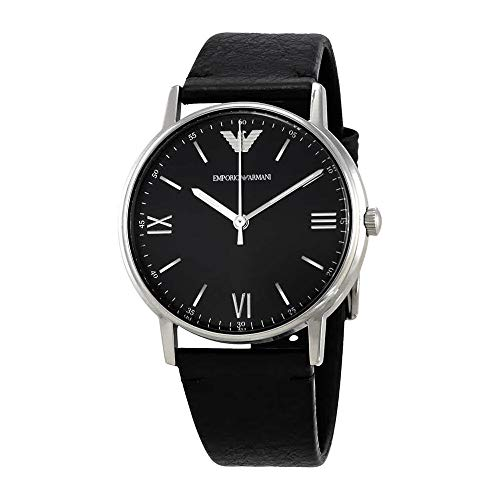 Emporio Armani Men's 'Kappa' Quartz Stainless Steel and Leather Casual Watch, Color:Black (Model: AR11013)