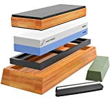 Tools & Hardware : Sharp Pebble Complete Sharpening Stone Set- Dual Grit Whetstone 1000/6000 - Bamboo Leather Strop - Waterstone Knife Sharpener with Non Slip Bamboo Base, Angle Guide & Green Polishing/Honing Compound