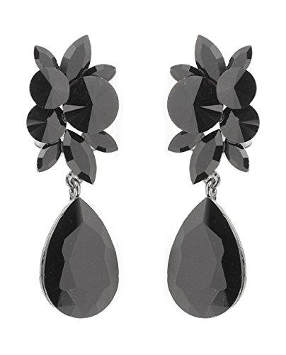 Elegant Vine Patterned Teardrop Gemstone Fashion Clip on Dangling Earrings - 4279 Black