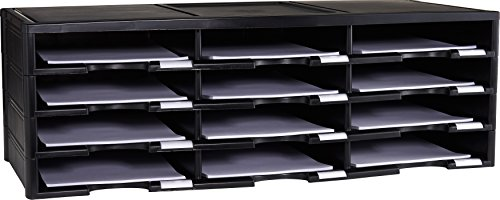 Storex 12-Compartment Literature Organizer/Document Sorter, 31.38 x 14.13 x 10.5 Inches, Black (61432U01C)