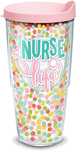 Tervis 1302569 Nurse Life Polka Dots Insulated Tumbler with Wrap and Pink Lid, 24 oz, Clear
