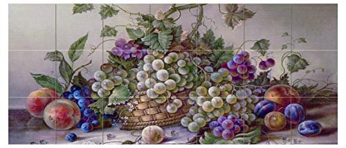 Tile Mural Still Life with Grapes Plums Peaches in a Basket Fruits Kitchen Bathroom Shower Wall Backsplash Splashback 7x3 4.25