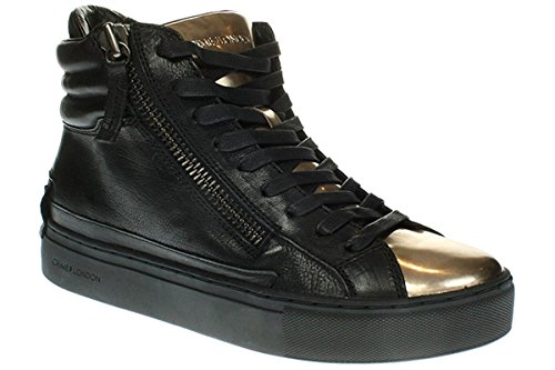 Stivaletto donna Crime London, art.25384A16B22 , colore nero e linguetta laminata oro, tomaia in pelle.