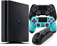 Playstation 4 Slim 1TB Console with Black and Berry Blue Wireless Controller and Mytrix DS4 Fast Charging Dock