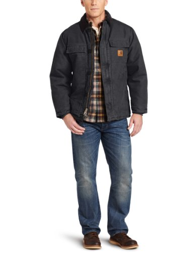 Style Jacket Traditional - Carhartt Men's Arctic Quilt Lined Sandstone Traditional Coat C26,Black,Large